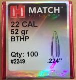 100 Stk. Hornady Match #2249 .224 Dia 52 grain