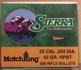 500 Stk. Sierra Matchking HPBT .224 Dia 52 grain